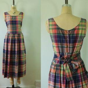vintage plaid dress   1980s medium cotton dress